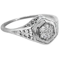 .35 Carat Diamond Antique Engagement Ring 18 Karat White Gold Orange Blossom
