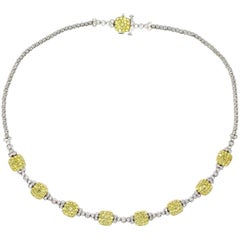 One Yellow Diamond Fancy Necklace on 18 Karat White Gold Chain