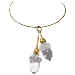 Steuben Crystal and Gold Necklace