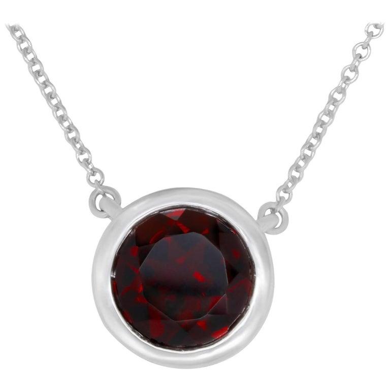 Garnet Solitaire Necklace