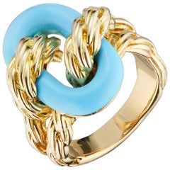 Van Cleef & Arpels 1960s Ring in Turquoise and 18 Karat Yellow Gold