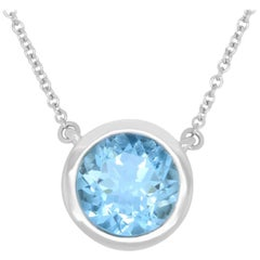 Aquamarine Solitaire Necklace