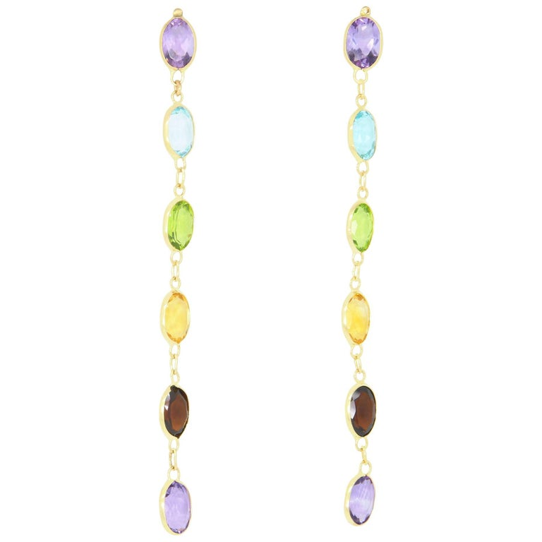 Oval Multi-Color Gemstone Earrings