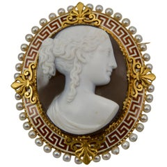 19th Century Yellow Gold, Enamel and Pearl Cameo Brooch Made in France