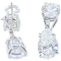 GIA Certified, Diamond Round and Pear Shaped Earrings