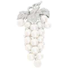 18 Karat White Gold Diamond and Pearl Brooch