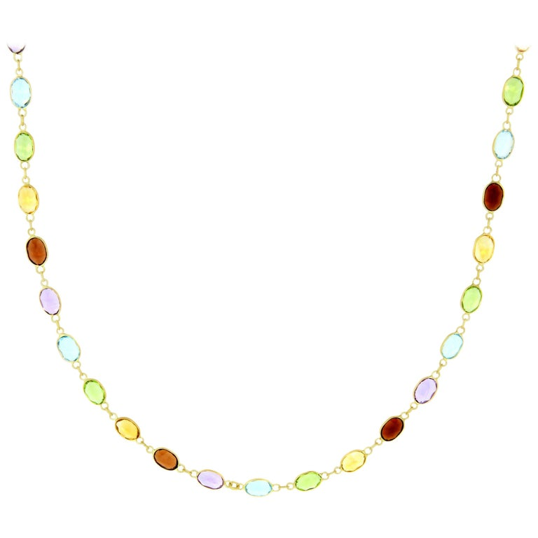 Multi-Color Gemstone Choker Necklace