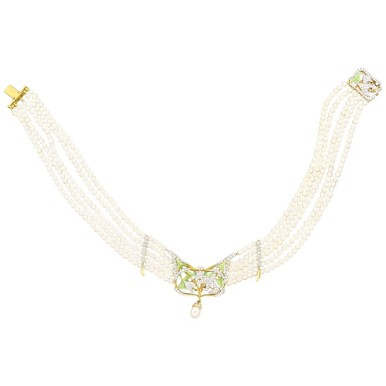 Masriera Diamond Pearl Enamel Five Strand Gold Necklace