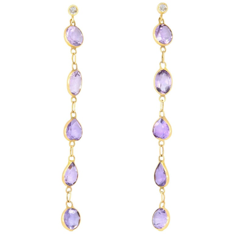 Oval Amethyst and Round Diamond Drop Earrings