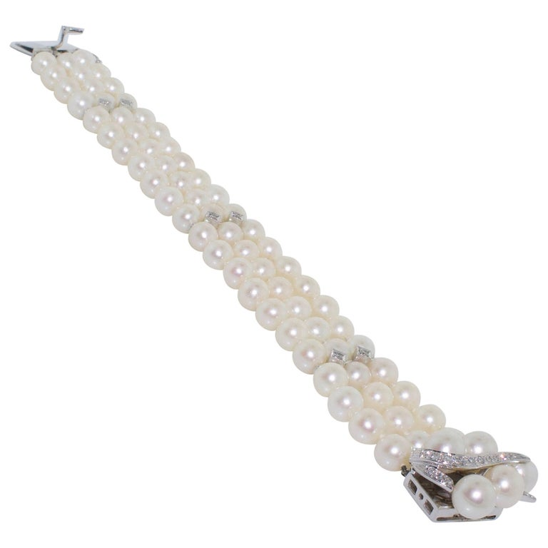 1950s Pearl and Diamond Bracelet