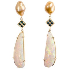 18 Karat Yellow Golden South Sea Pearl and Opal Earrings