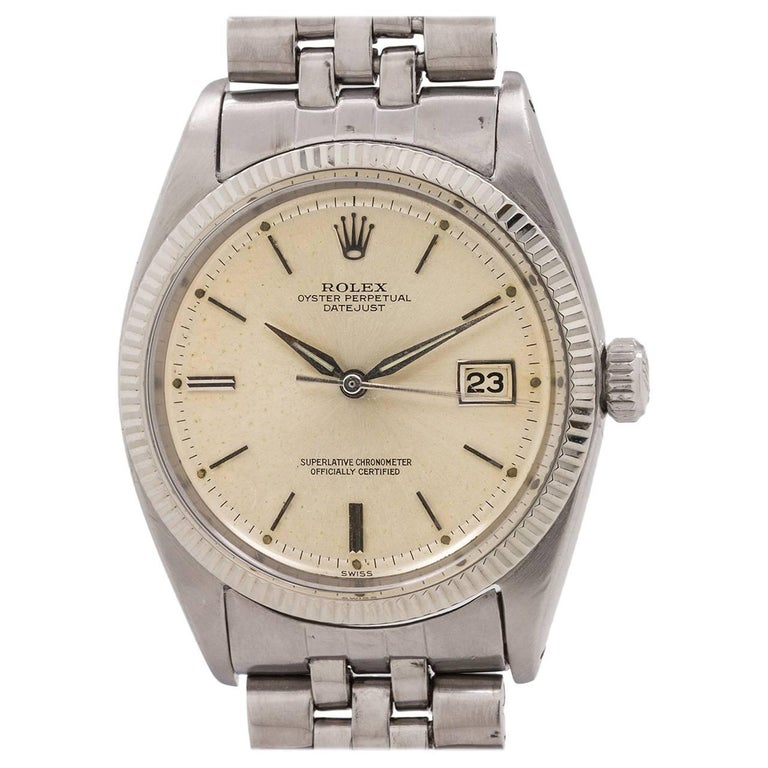 Rolex white gold stainless steel Datejust self winding wristwatch Ref 1601 c1961