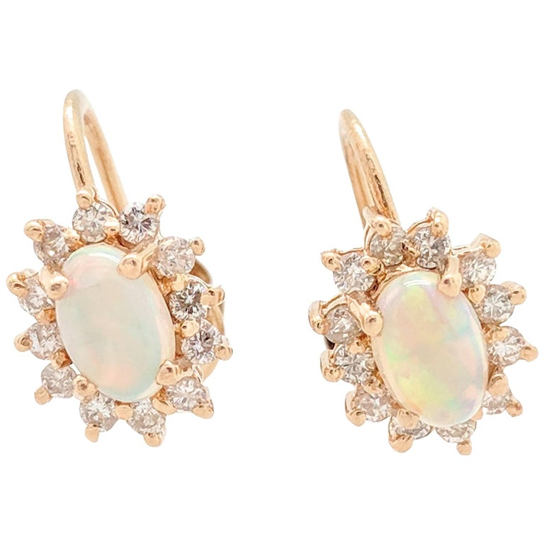 14 Karat Yellow Gold 1 Carat Opal and Diamond Screw Back 'Non-Pierced' Earrings