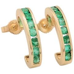 14 Karat Yellow Gold .48 Carat Emerald Channel Set Earrings