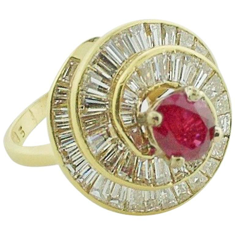 18 Karat Yellow Gold Ruby and Diamond Ring, circa 1970s