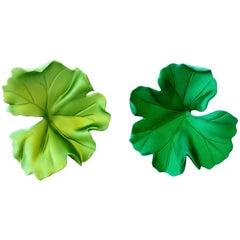 JAR Paris Green Leaf Aluminum Earrings