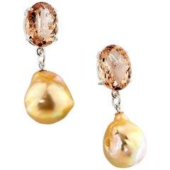11 Carat of Morganites and Pearl Sterling Silver Stud Earrings