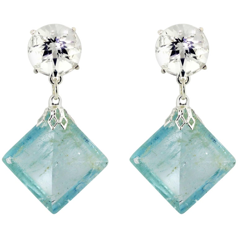 Silver Quartz Dangle Bright Aquamarines on Sterling Silver Stud Earrings