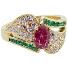 "Ruby, Emerald and Diamond ""Merry Christmas"" Ring in 18 Karat Yellow Gold"