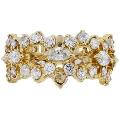 Round Brilliant and Marquise Diamond Eternity Band