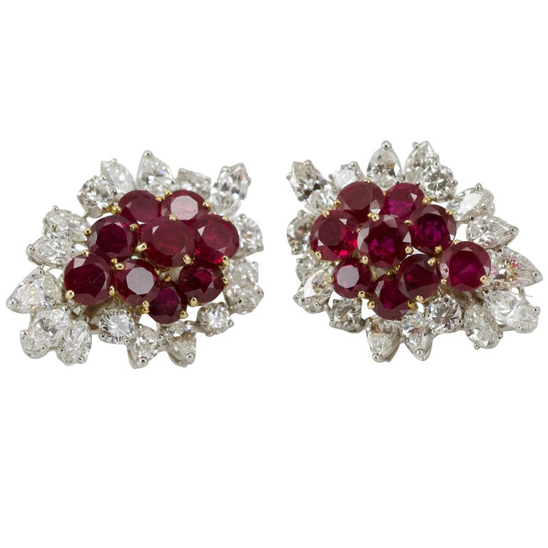 1950s French Elegant Diamond Burma Ruby Earclips