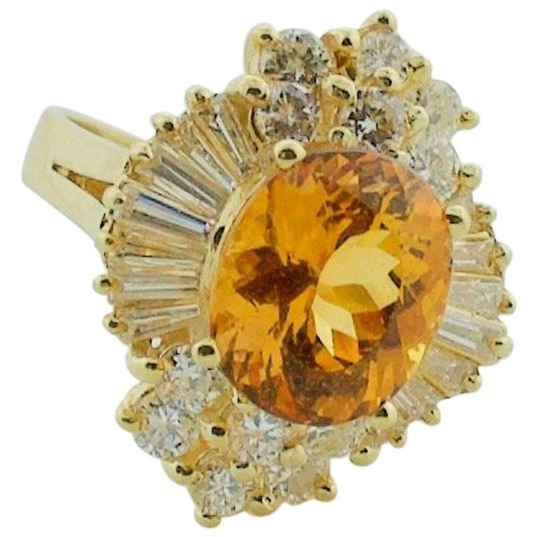 Precious Topaz and Diamond Cocktail Ring