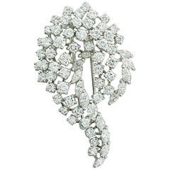 1950s Platinum Diamond Brooch