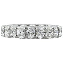 Mark Broumand 3.75 Carat Oval Cut Diamond Eternity Band in 18 Karat White Gold