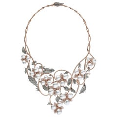 South Sea Keshi Pearl Rose Gold Diamond Necklace