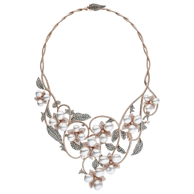 South Sea Keshi Pearl Rose Gold Diamond Necklace