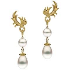 South Sea Pearl Diamond Drop Earrings
