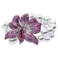 South Sea Pearl Diamond Ruby Bracelet Cuff Bracelet