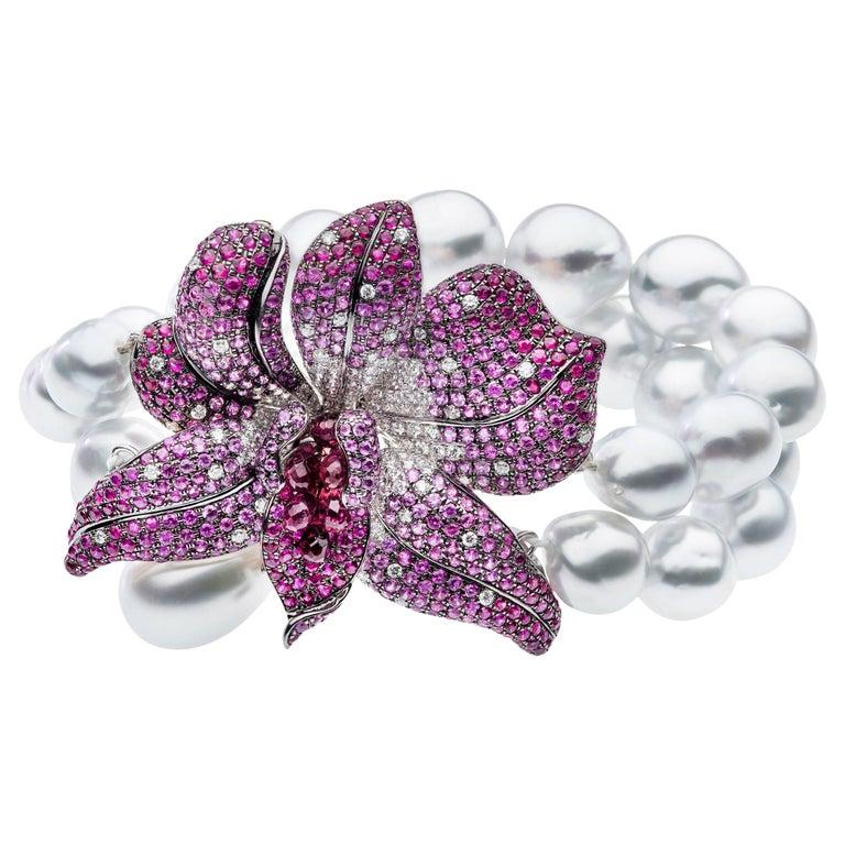South Sea Pearl Diamond Ruby Bracelet Cuff Bracelet