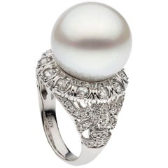 South Sea Pearl Diamond White Gold Cocktail Ring