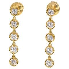 Van Cleef & Arpels Diamond Palmyre One-Row Earrings 18 Karat Yellow Gold
