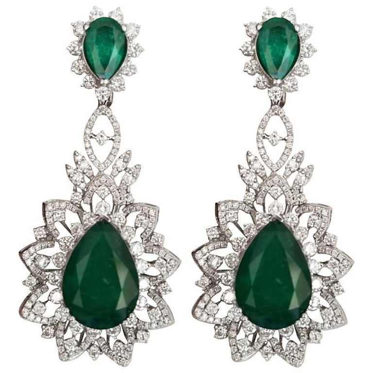 26.64 Carat Emerald Pear Shape and Diamond Dangle Earrings