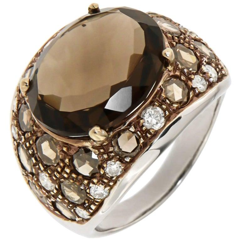 White Brown Diamonds Brown Citrine 18 Karat Gold Cocktail Ring Modern