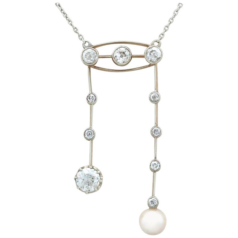 1910s Antique 1.32 Carat Diamond and Pearl Yellow Gold Necklace