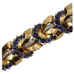 Yellow Gold Sapphires and Diamonds Bracelet circa 1950