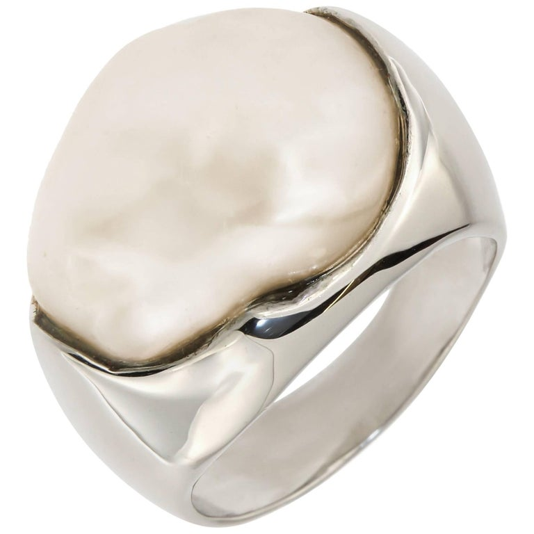 Freshwater Pearl 18 Karat White Gold Ring Dome Cocktail Ring
