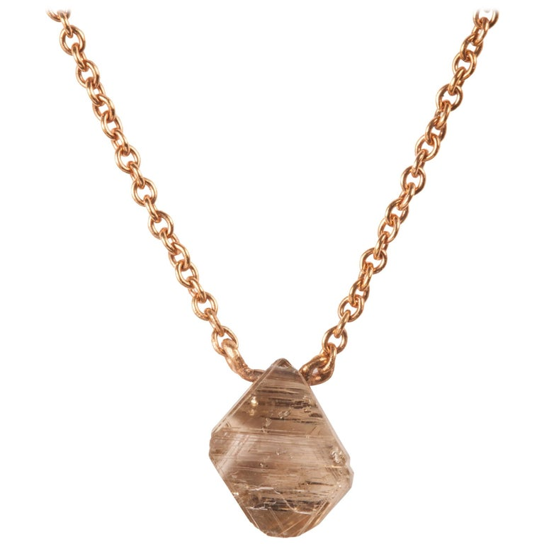 1.24 Carat Australian Rough Light Brown Diamond Rose Gold Drop Necklace