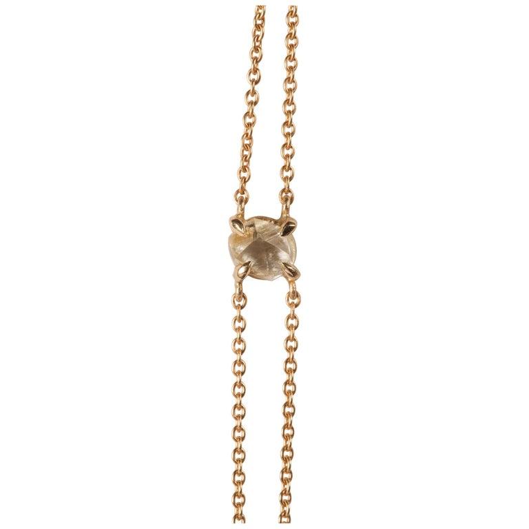 0.91 Carat Rough White Diamond Gold Chain Bracelet For Sale