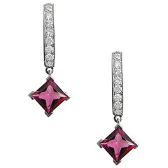 Fei Liu Rubellite And White Gold Diamond Earrings