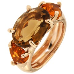 9 Karat Rose Gold Ring Orange Citrine Modern
