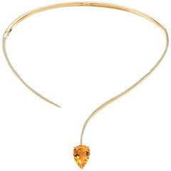 Fei Liu Shooting Star Yellow Citrine and Cubic Zirconia Silver Choker Necklace