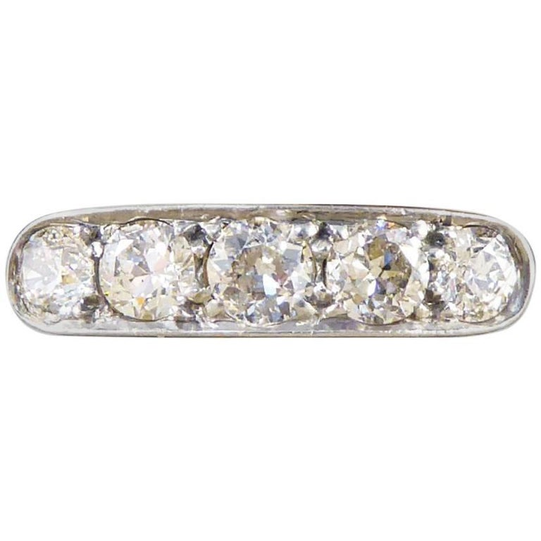 Art Deco Five-Stone Diamond 18 Carat and Platinum Ring