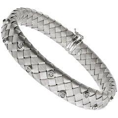 Diamond 18 Karat White Gold Woven Flexible Bangle Bracelet