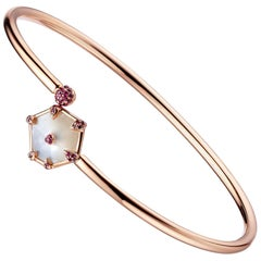 Fei Liu Hexagon Mother of Pearl Pink Sapphire 18 Karat Rose Gold Bangle Bracelet