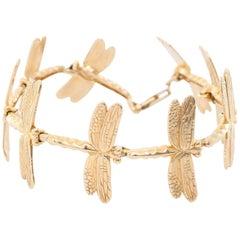 Stunning 14 Karat Yellow Gold Dragonfly Bracelet