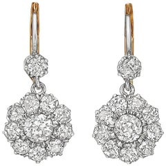 Platinum and Old Mine Diamond Cluster Drop Earrings